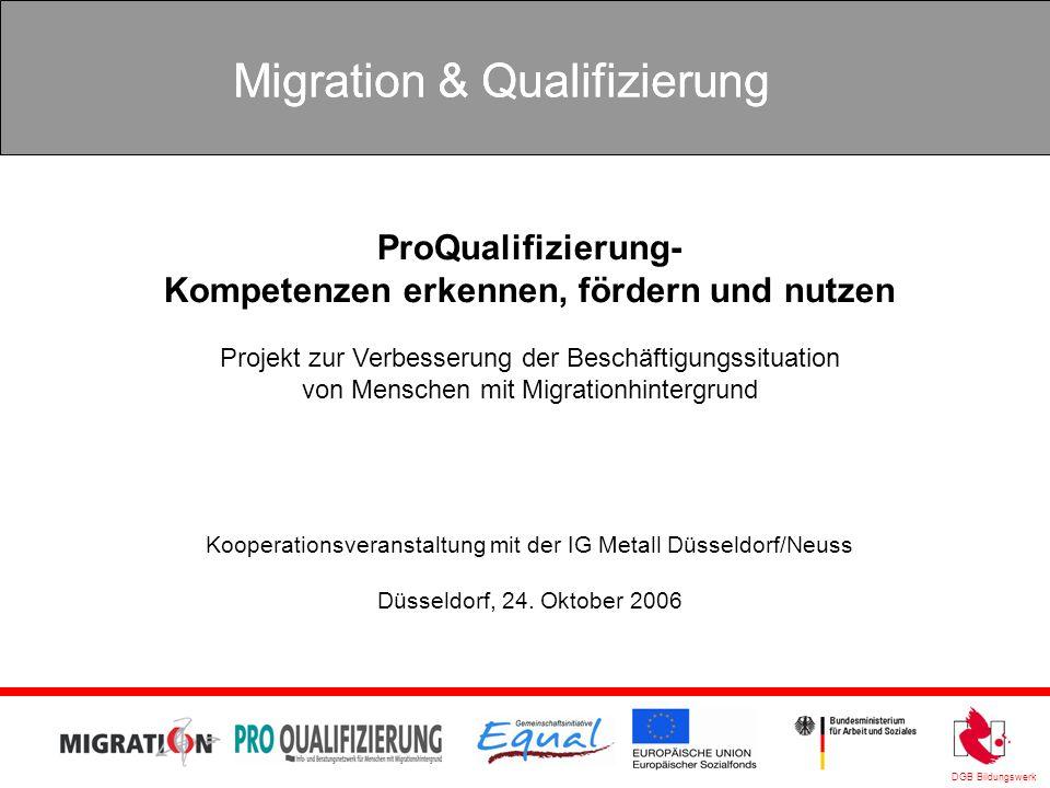 DGB Bildungswerk Migration & Qualifizierung ProQualifizierung- Kompetenzen erkennen, fördern und nutzen Projekt zur Verbesserung der Beschäftigungssit