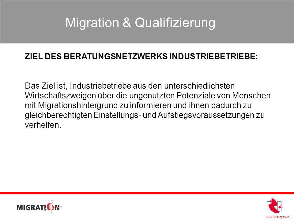 DGB Bildungswerk Migration & Qualifizierung ZIEL DES BERATUNGSNETZWERKS INDUSTRIEBETRIEBE: Das Ziel ist, Industriebetriebe aus den unterschiedlichsten