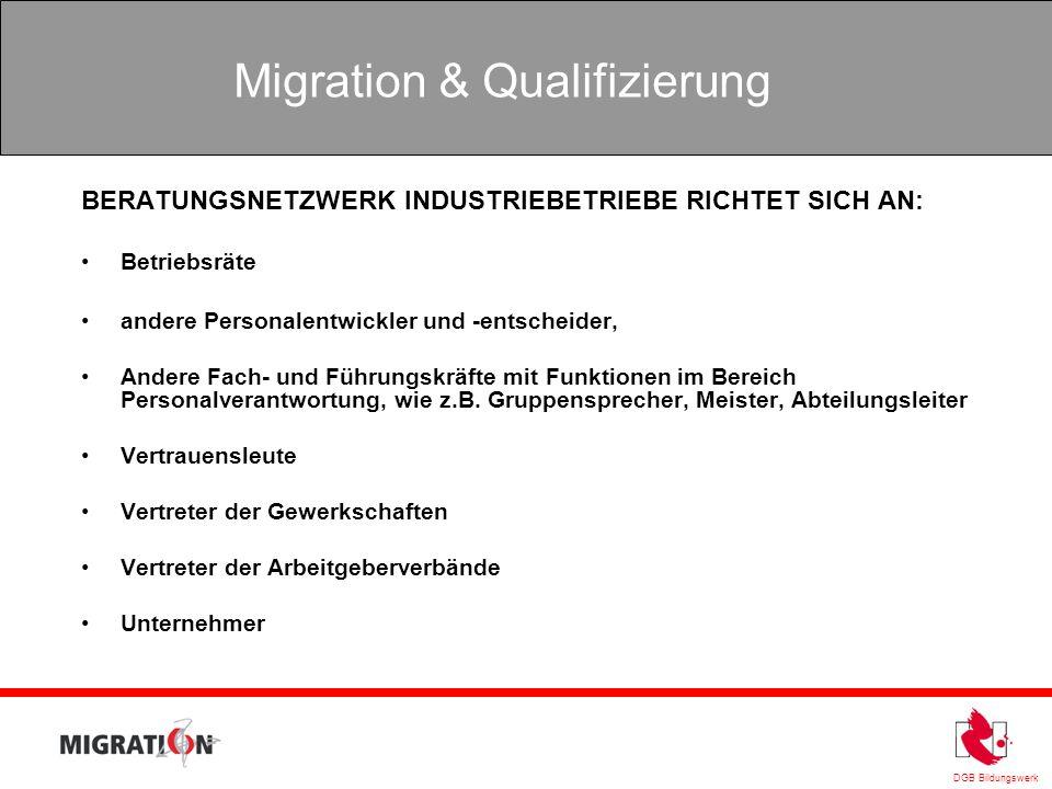 DGB Bildungswerk Migration & Qualifizierung BERATUNGSNETZWERK INDUSTRIEBETRIEBE RICHTET SICH AN: Betriebsräte andere Personalentwickler und -entscheid