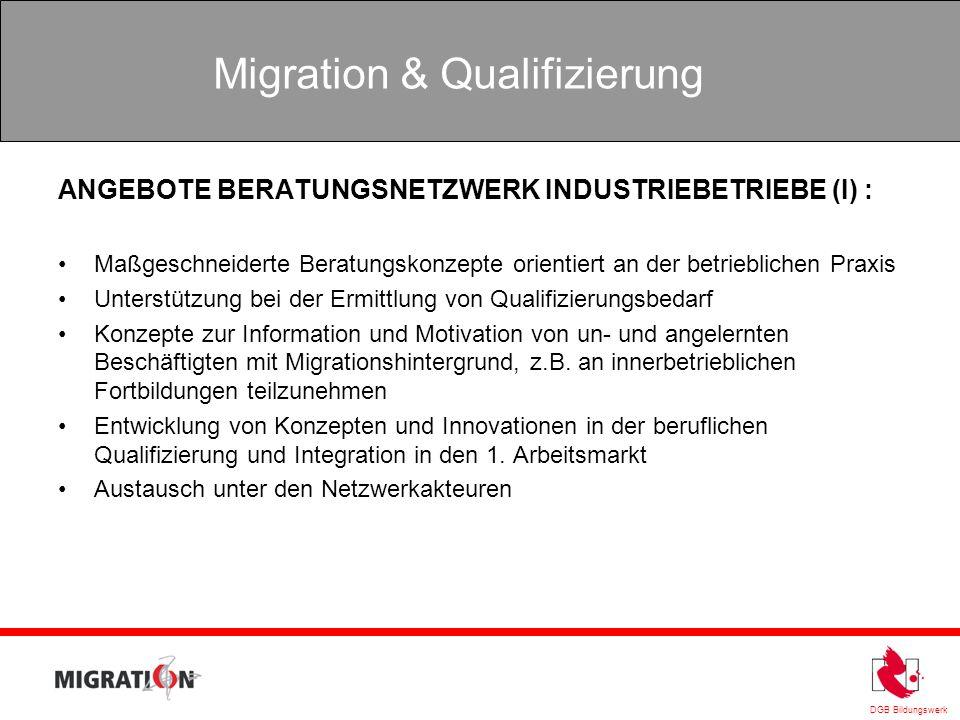DGB Bildungswerk Migration & Qualifizierung ANGEBOTE BERATUNGSNETZWERK INDUSTRIEBETRIEBE (I) : Maßgeschneiderte Beratungskonzepte orientiert an der be