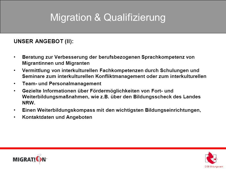 DGB Bildungswerk Migration & Qualifizierung UNSER ANGEBOT (II): Beratung zur Verbesserung der berufsbezogenen Sprachkompetenz von Migrantinnen und Mig