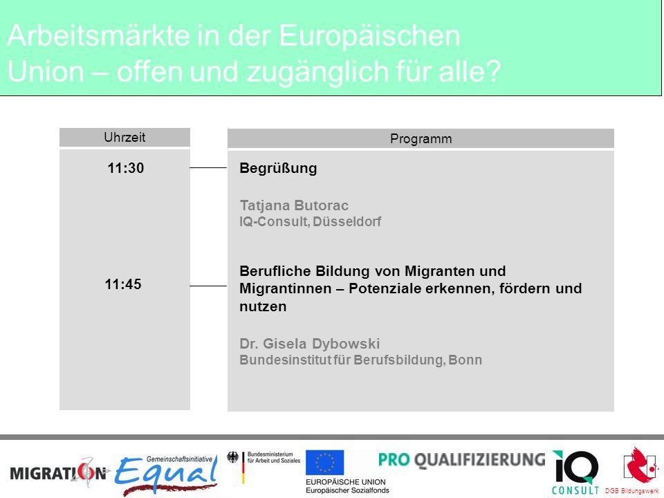 DGB Bildungswerk Ende der Veranstaltung Wir wünschen allen Teilnehmerinnen und Teilnehmern eine gute Heimfahrt IQ Consult Bereich Migration & Qualifizierung Arbeitsmärkte in der Europäischen Union – offen und zugänglich für alle?
