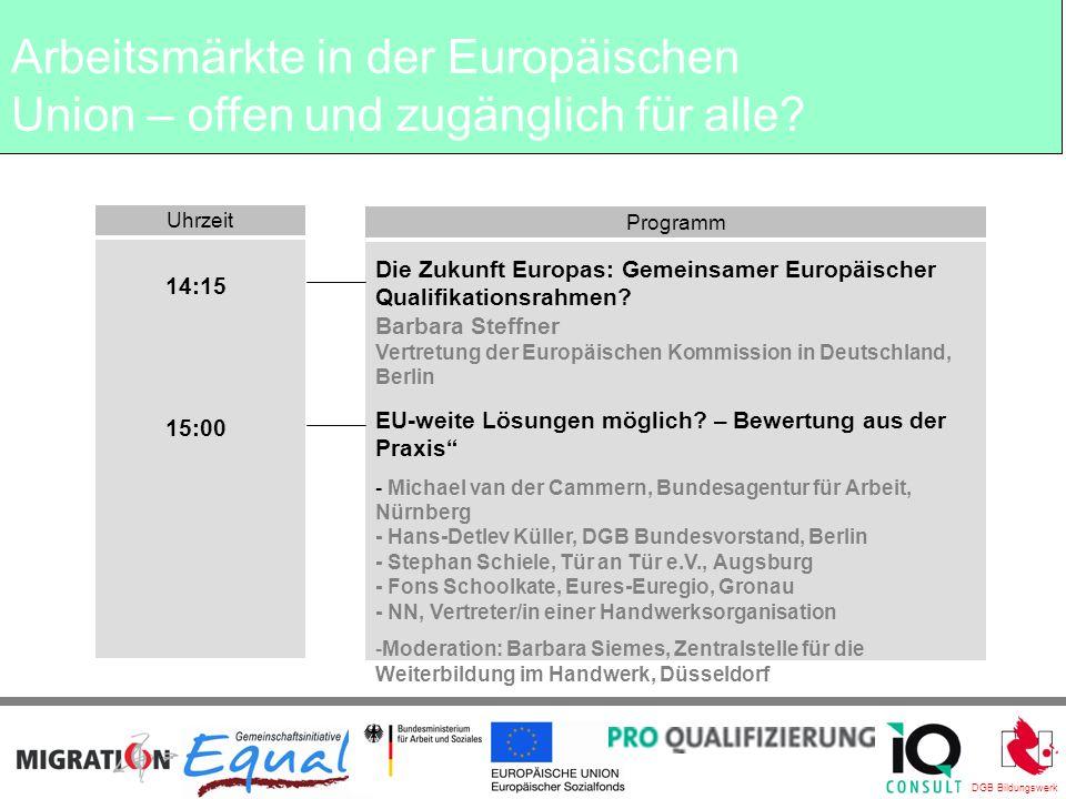 DGB Bildungswerk Uhrzeit Programm Schlusswort: Tatjana Butorac IQ Consult, Düsseldorf 16:30 Arbeitsmärkte in der Europäischen Union – offen und zugänglich für alle?