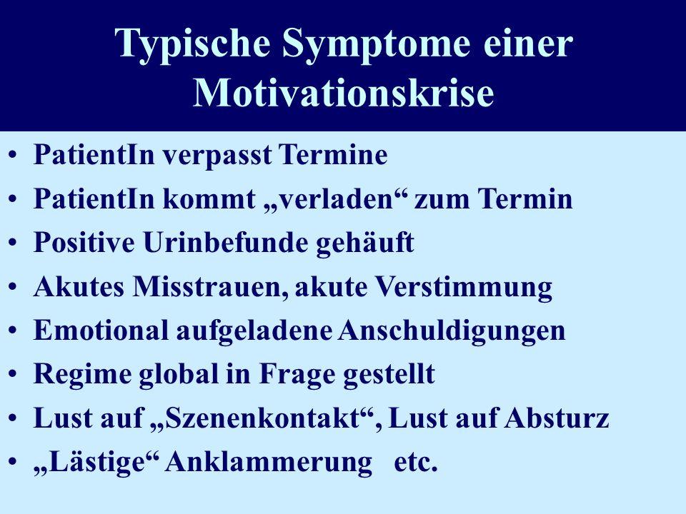 Typische Symptome einer Motivationskrise PatientIn verpasst Termine PatientIn kommt verladen zum Termin Positive Urinbefunde gehäuft Akutes Misstrauen