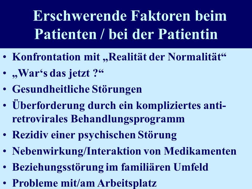 Erschwerende Faktoren beim Patienten / bei der Patientin Konfrontation mit Realität der Normalität Wars das jetzt ? Gesundheitliche Störungen Überford