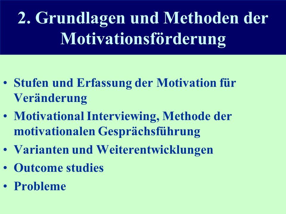 2. Grundlagen und Methoden der Motivationsförderung Stufen und Erfassung der Motivation für Veränderung Motivational Interviewing, Methode der motivat