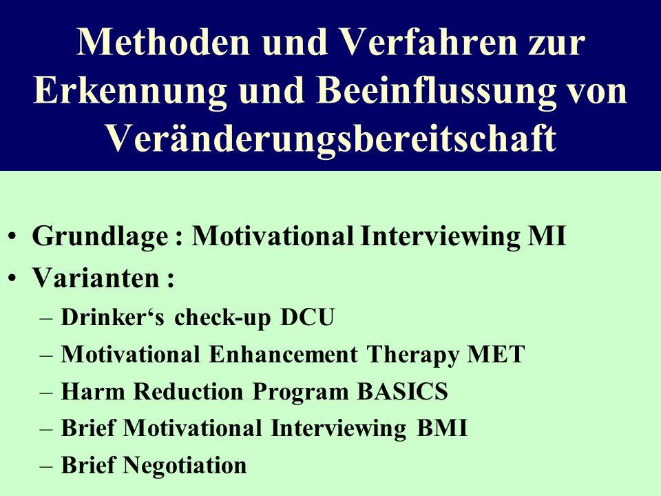 Methoden und Verfahren zur Erkennung und Beeinflussung von Veränderungsbereitschaft Grundlage : Motivational Interviewing MI Varianten : –Drinkers che