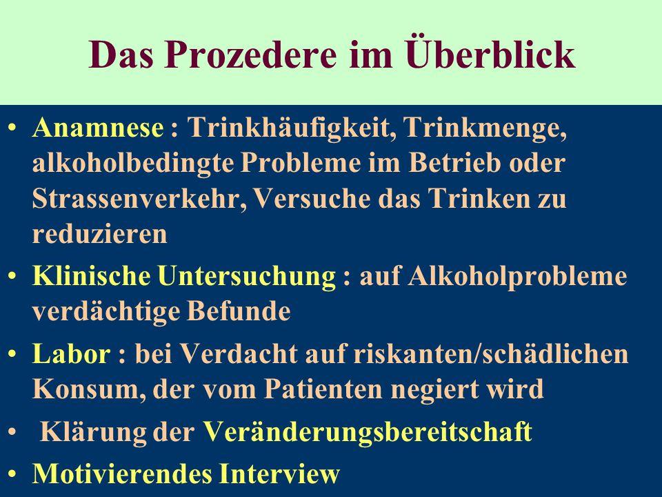 Das Prozedere im Überblick Anamnese : Trinkhäufigkeit, Trinkmenge, alkoholbedingte Probleme im Betrieb oder Strassenverkehr, Versuche das Trinken zu r