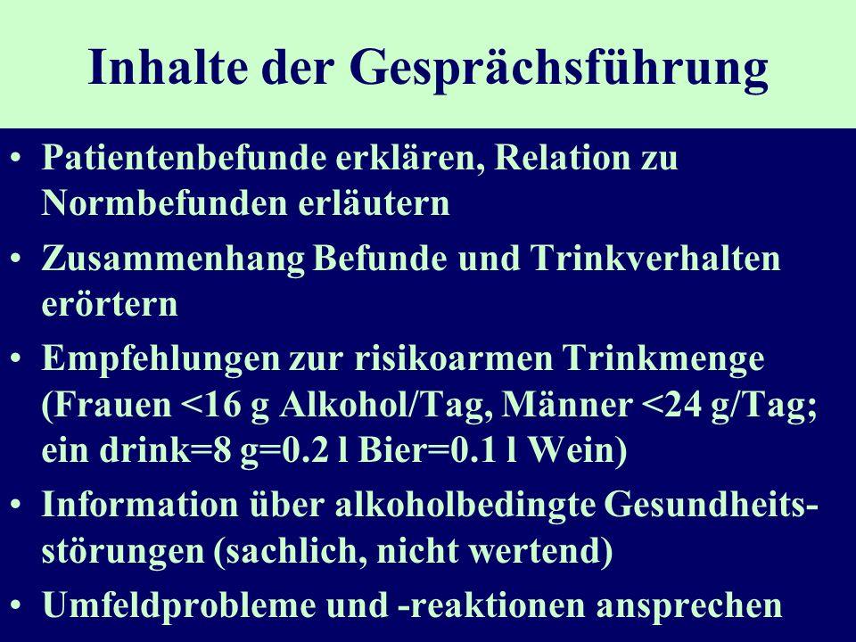 Inhalte der Gesprächsführung Patientenbefunde erklären, Relation zu Normbefunden erläutern Zusammenhang Befunde und Trinkverhalten erörtern Empfehlung