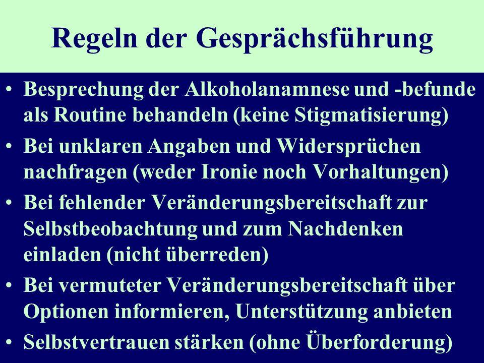 Regeln der Gesprächsführung Besprechung der Alkoholanamnese und -befunde als Routine behandeln (keine Stigmatisierung) Bei unklaren Angaben und Widers