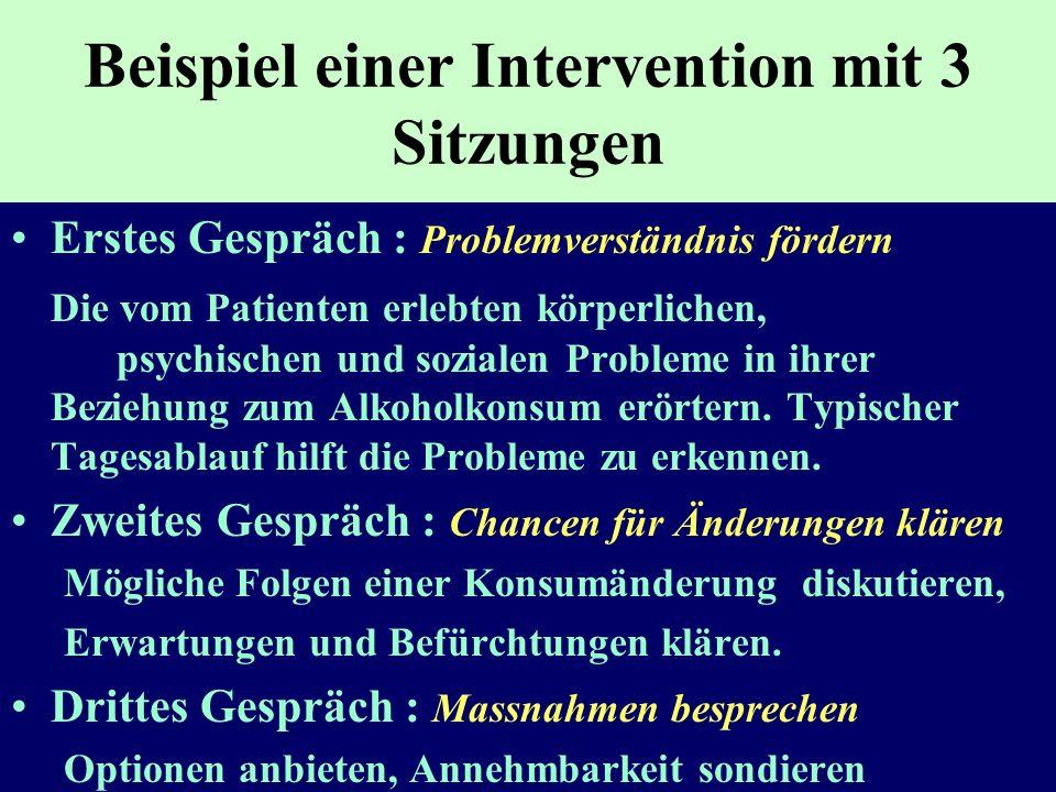 Beispiel einer Intervention mit 3 Sitzungen Erstes Gespräch : Problemverständnis fördern Die vom Patienten erlebten körperlichen, psychischen und sozi