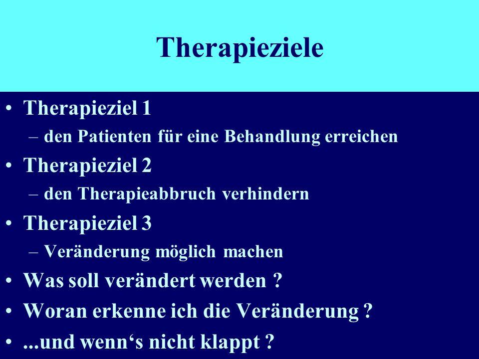 Therapieziele Therapieziel 1 –den Patienten für eine Behandlung erreichen Therapieziel 2 –den Therapieabbruch verhindern Therapieziel 3 –Veränderung m