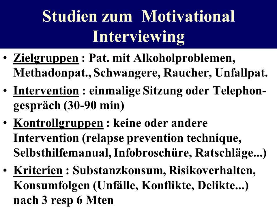 Studien zum Motivational Interviewing Zielgruppen : Pat. mit Alkoholproblemen, Methadonpat., Schwangere, Raucher, Unfallpat. Intervention : einmalige