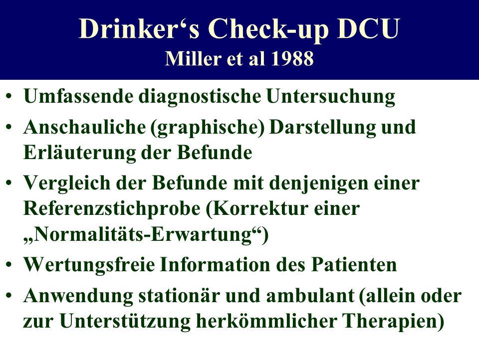 Drinkers Check-up DCU Miller et al 1988 Umfassende diagnostische Untersuchung Anschauliche (graphische) Darstellung und Erläuterung der Befunde Vergle