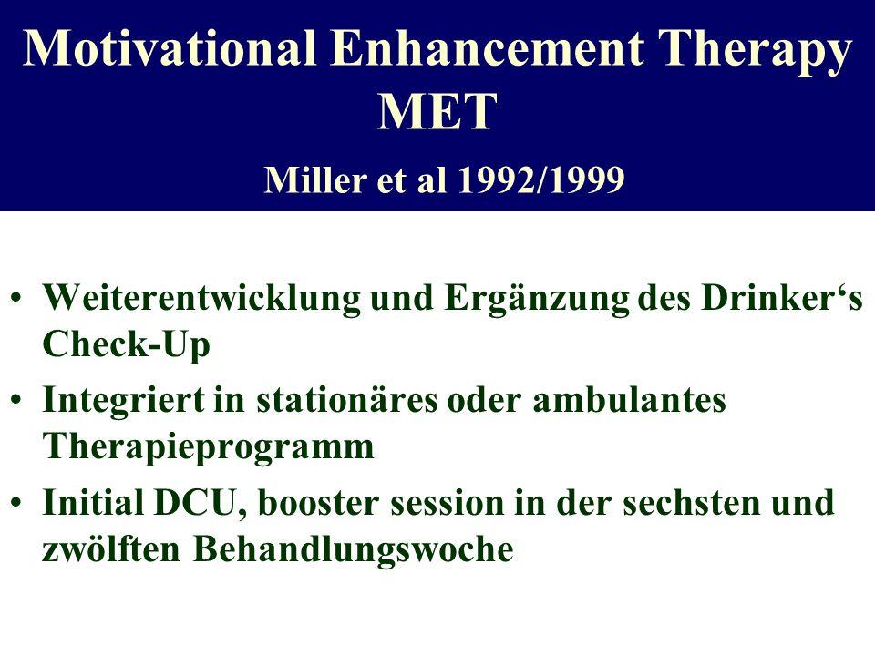 Motivational Enhancement Therapy MET Miller et al 1992/1999 Weiterentwicklung und Ergänzung des Drinkers Check-Up Integriert in stationäres oder ambul