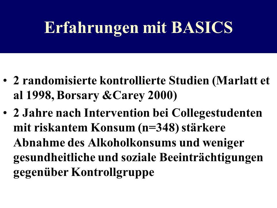 Erfahrungen mit BASICS 2 randomisierte kontrollierte Studien (Marlatt et al 1998, Borsary &Carey 2000) 2 Jahre nach Intervention bei Collegestudenten