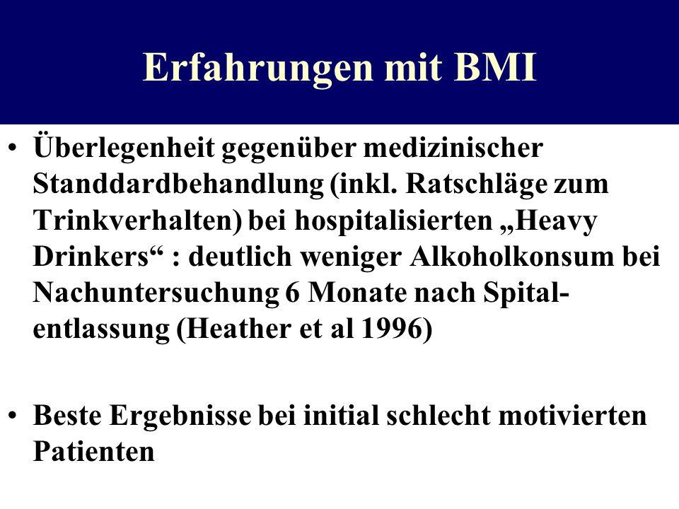 Erfahrungen mit BMI Überlegenheit gegenüber medizinischer Standdardbehandlung (inkl. Ratschläge zum Trinkverhalten) bei hospitalisierten Heavy Drinker