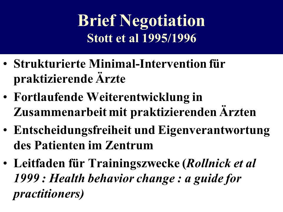 Brief Negotiation Stott et al 1995/1996 Strukturierte Minimal-Intervention für praktizierende Ärzte Fortlaufende Weiterentwicklung in Zusammenarbeit m