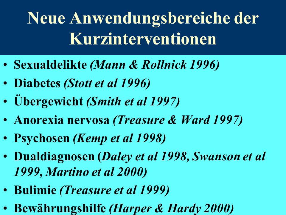 Neue Anwendungsbereiche der Kurzinterventionen Sexualdelikte (Mann & Rollnick 1996) Diabetes (Stott et al 1996) Übergewicht (Smith et al 1997) Anorexi