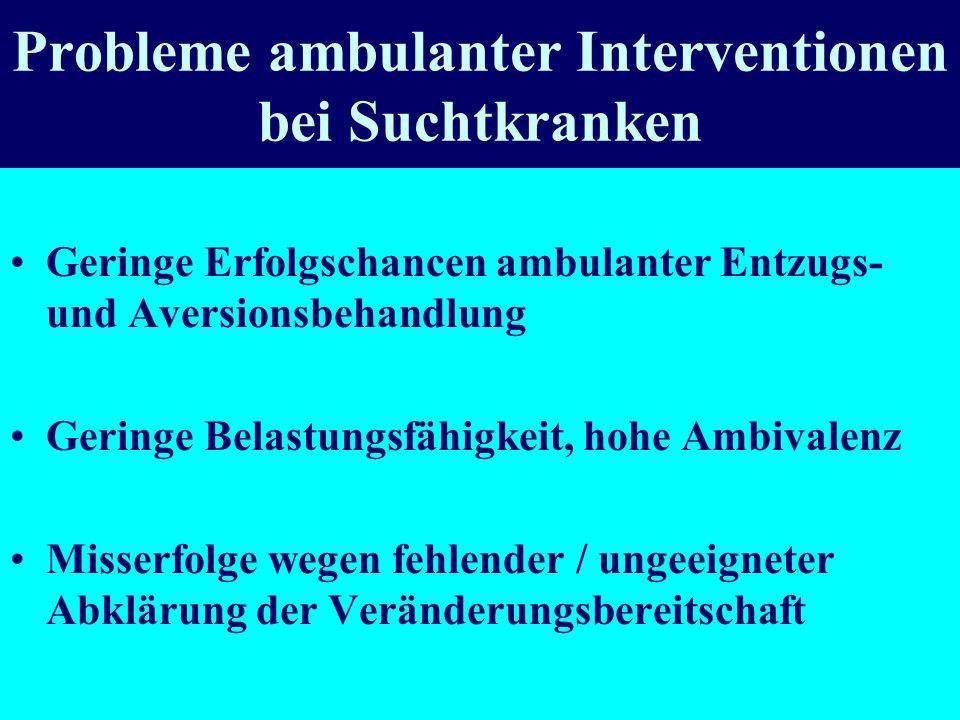 Probleme ambulanter Interventionen bei Suchtkranken Geringe Erfolgschancen ambulanter Entzugs- und Aversionsbehandlung Geringe Belastungsfähigkeit, ho