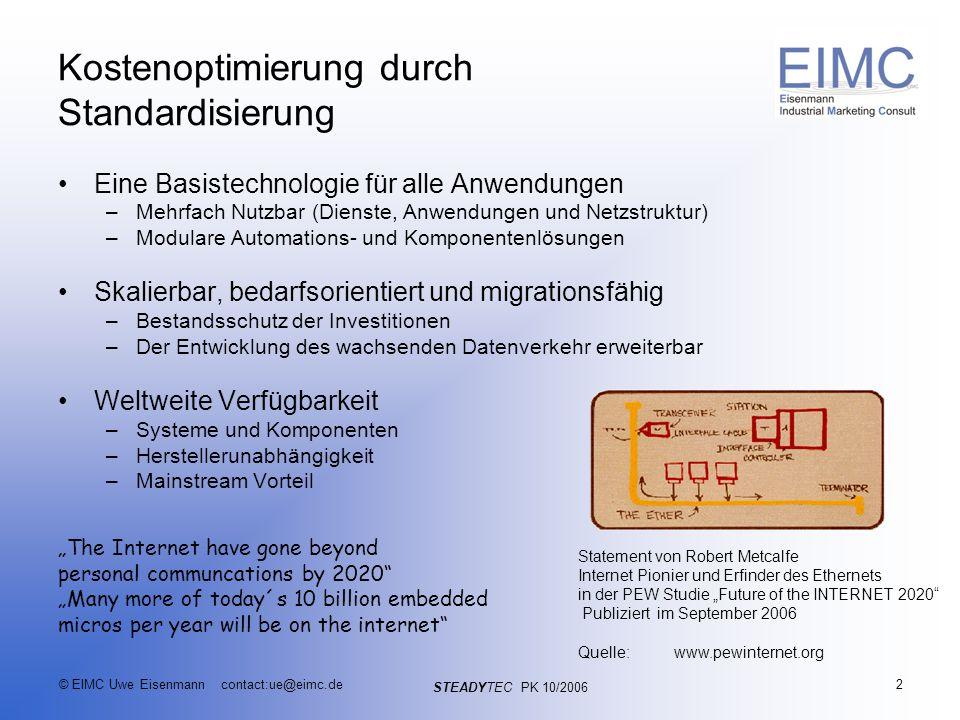 STEADYTEC PK 10/2006 © EIMC Uwe Eisenmann contact:ue@eimc.de3 Konvergenz der Anwendungen im Automationsnetz IP Video Voice Ident IP Control over IP