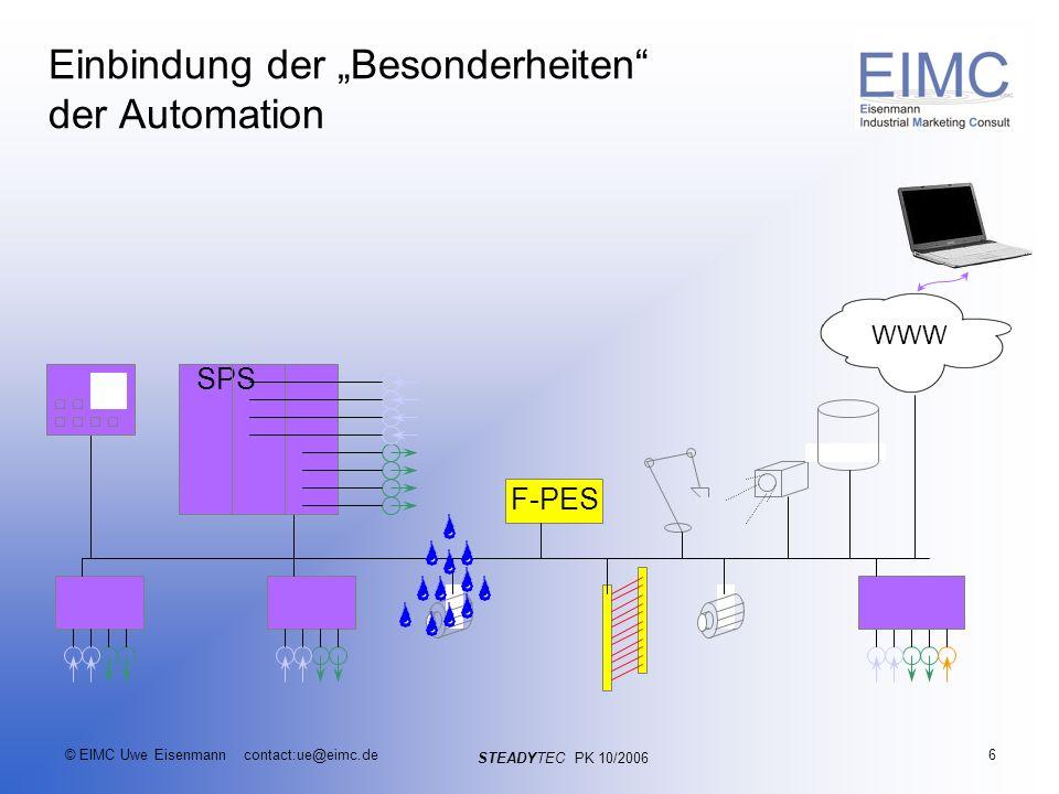 STEADYTEC PK 10/2006 © EIMC Uwe Eisenmann contact:ue@eimc.de6 Einbindung der Besonderheiten der Automation SPS F-PES WWW