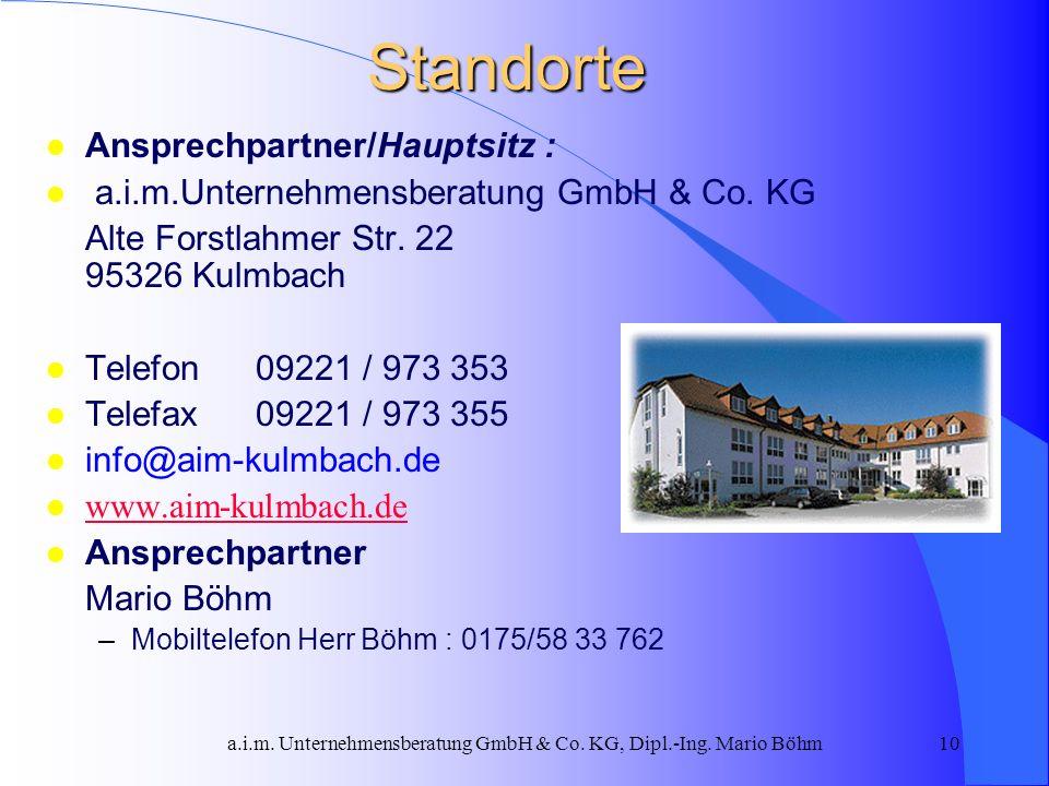 a.i.m. Unternehmensberatung GmbH & Co. KG, Dipl.-Ing. Mario Böhm10Standorte Ansprechpartner/Hauptsitz : a.i.m.Unternehmensberatung GmbH & Co. KG Alte
