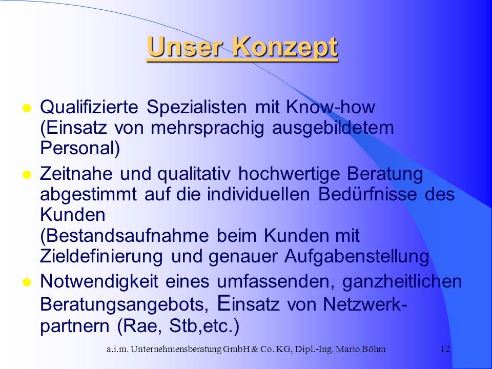 a.i.m. Unternehmensberatung GmbH & Co. KG, Dipl.-Ing. Mario Böhm12 Unser Konzept l Qualifizierte Spezialisten mit Know-how (Einsatz von mehrsprachig a