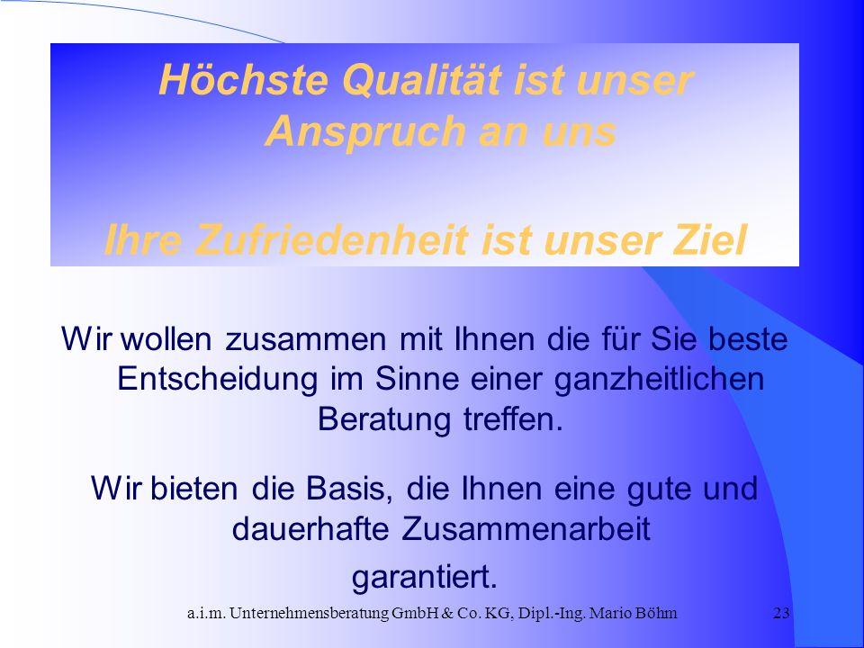 a.i.m. Unternehmensberatung GmbH & Co. KG, Dipl.-Ing. Mario Böhm23 Höchste Qualität ist unser Anspruch an uns Ihre Zufriedenheit ist unser Ziel Wir wo