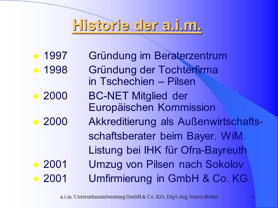 a.i.m. Unternehmensberatung GmbH & Co. KG, Dipl.-Ing. Mario Böhm3 Historie der a.i.m. l 1997 Gründung im Beraterzentrum l 1998 Gründung der Tochterfir