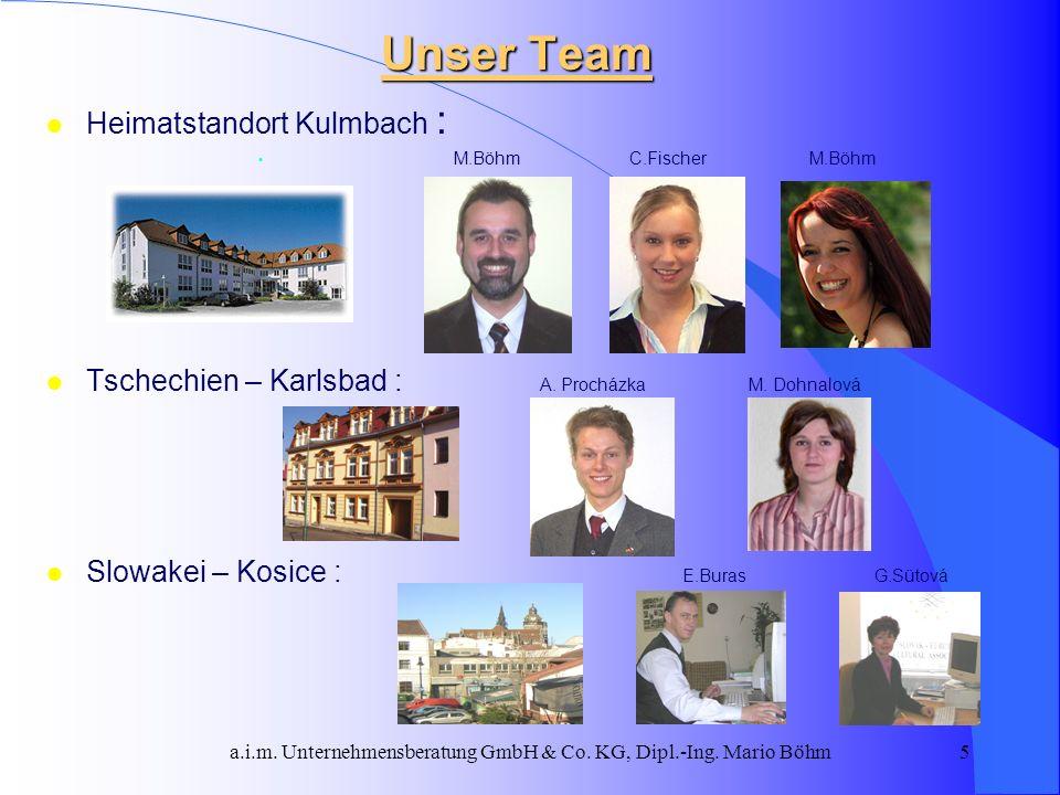 a.i.m. Unternehmensberatung GmbH & Co. KG, Dipl.-Ing. Mario Böhm5 l Heimatstandort Kulmbach : M.Böhm C.Fischer M.Böhm l Tschechien – Karlsbad : A. Pro