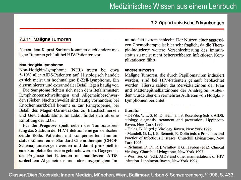 Medizinisches Wissen aus einem Lehrbuch Classen/Diehl/Kochsiek: Innere Medizin, München, Wien, Baltimore: Urban & Schwarzenberg, 4 1998, S. 433.