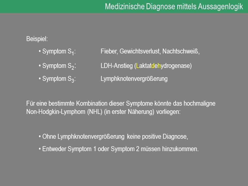 Beispiel: Symptom S 1 : Fieber, Gewichtsverlust, Nachtschweiß, Symptom S 2 : LDH-Anstieg (Laktatdehydrogenase) Symptom S 3 :Lymphknotenvergrößerung Fü