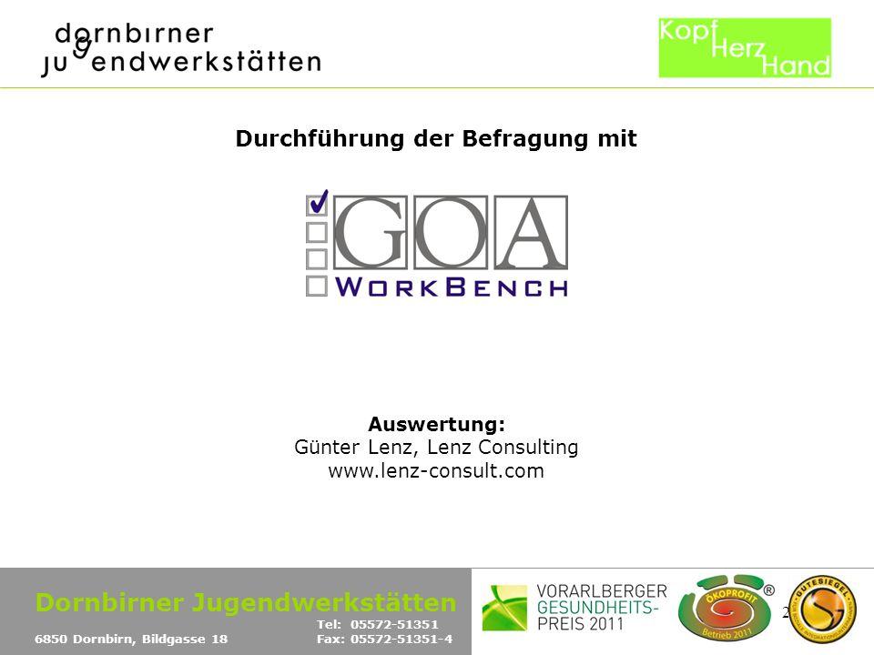 25 Durchführung der Befragung mit Auswertung: Günter Lenz, Lenz Consulting www.lenz-consult.com Dornbirner Jugendwerkstätten Tel: 05572-51351 6850 Dor