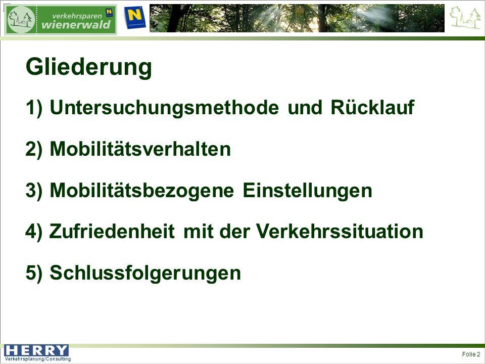 Verkehrsplanung/Consulting <> Folie 2 Gliederung 1)Untersuchungsmethode und Rücklauf 2)Mobilitätsverhalten 3)Mobilitätsbezogene Einstellungen 4)Zufriedenheit mit der Verkehrssituation 5)Schlussfolgerungen
