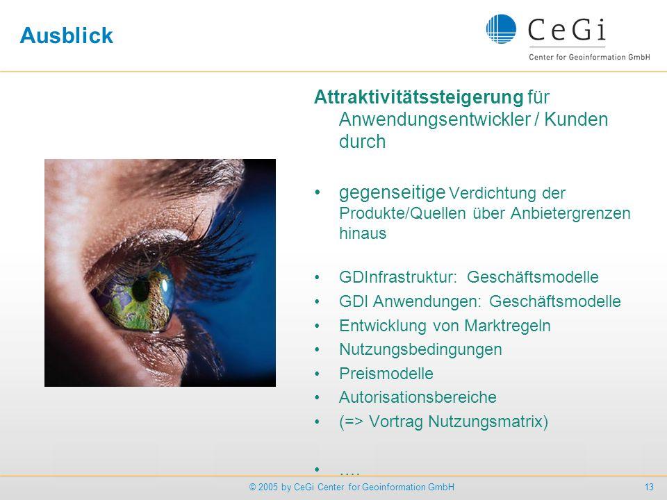 13© 2005 by CeGi Center for Geoinformation GmbH Ausblick Attraktivitätssteigerung für Anwendungsentwickler / Kunden durch gegenseitige Verdichtung der