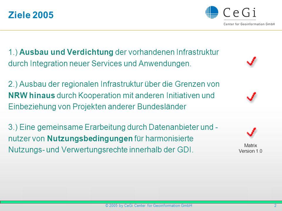 2© 2005 by CeGi Center for Geoinformation GmbH Ziele 2005 1.) Ausbau und Verdichtung der vorhandenen Infrastruktur durch Integration neuer Services un