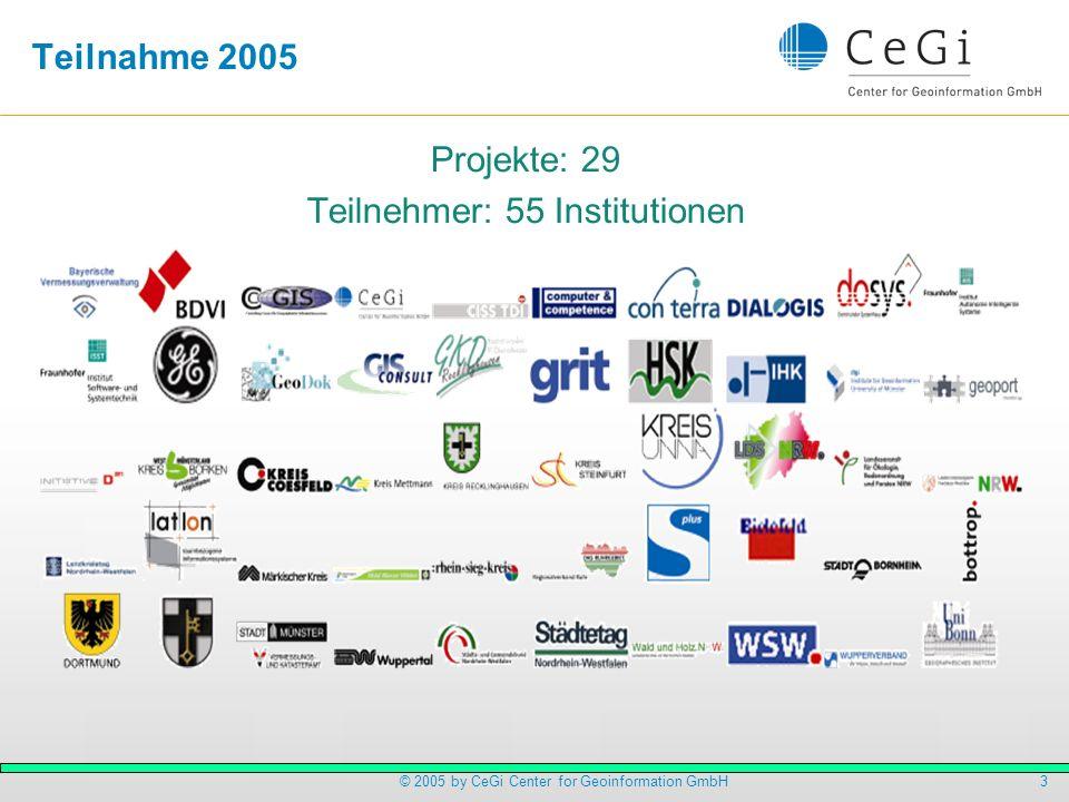 4© 2005 by CeGi Center for Geoinformation GmbH Teilnehmerstruktur Aussagekräftige Relation: Softwarehersteller zu Anbieter: 1 zu 4 Dienstanbieter (Betreiber) übernehmen die Weiterentwicklung, daher zunehmend nutzenorientiert Indikator: Relation private und öffentlicher Teilnehmer