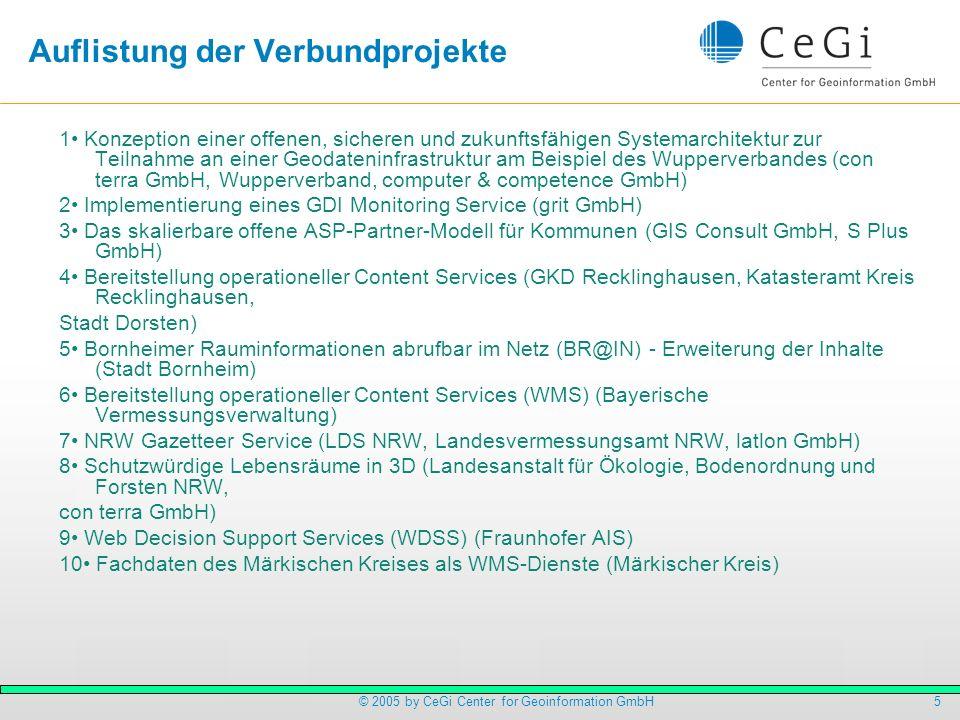 5© 2005 by CeGi Center for Geoinformation GmbH Auflistung der Verbundprojekte 1 Konzeption einer offenen, sicheren und zukunftsfähigen Systemarchitekt