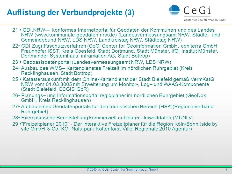 8© 2005 by CeGi Center for Geoinformation GmbH Investitionen und Nachhaltigkeit Gutes Verhältnis von Förderung zu ausgelösten Investitionen Impulse nachhaltiger durch Absicherung innerhalb der Teilprojekte zwischen Auftraggeber und –nehmer Dank an NRW .