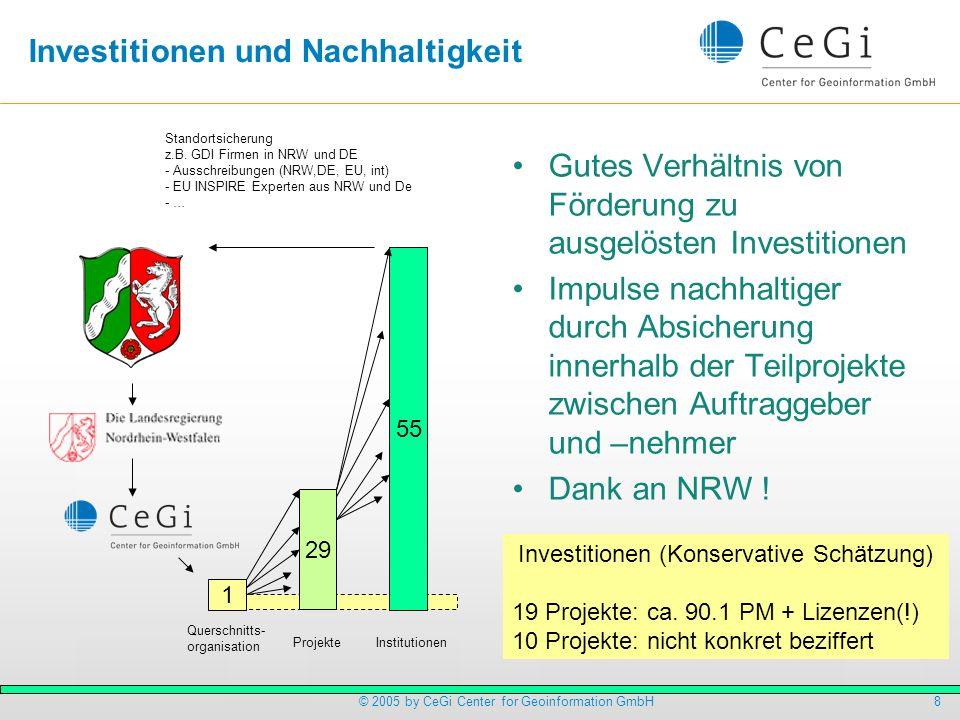 8© 2005 by CeGi Center for Geoinformation GmbH Investitionen und Nachhaltigkeit Gutes Verhältnis von Förderung zu ausgelösten Investitionen Impulse na