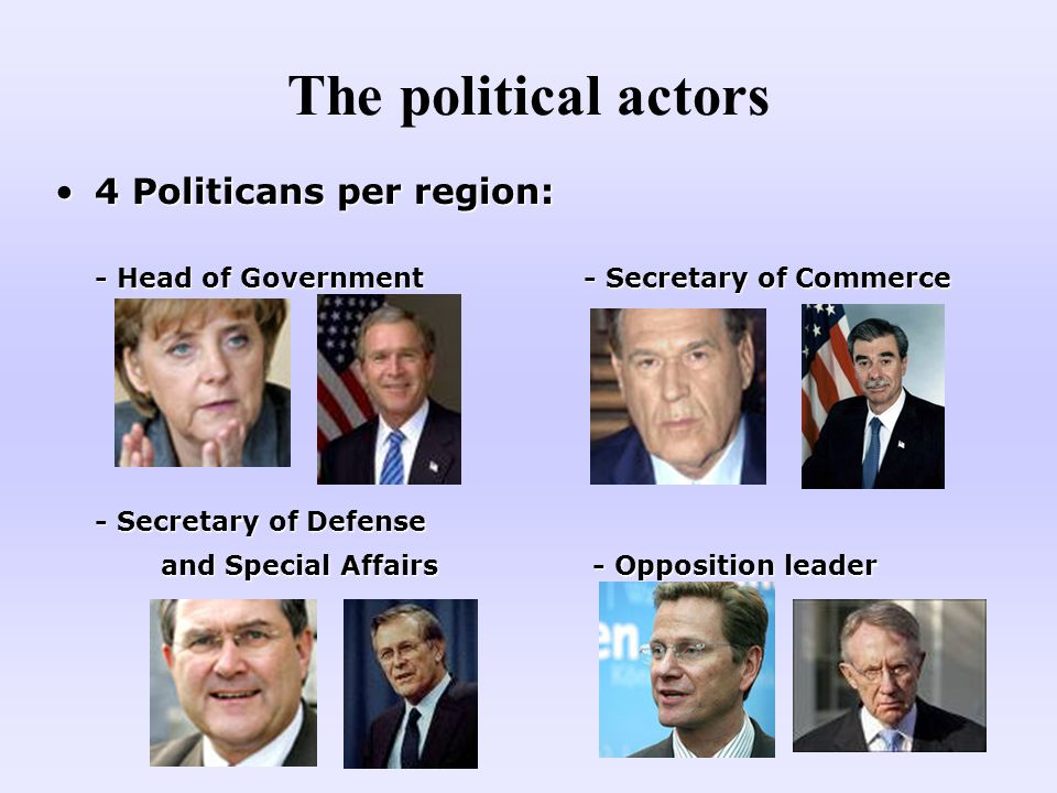 4 Politicans per region:4 Politicans per region: - Head of Government - Secretary of Commerce - Secretary of Defense and Special Affairs - Opposition