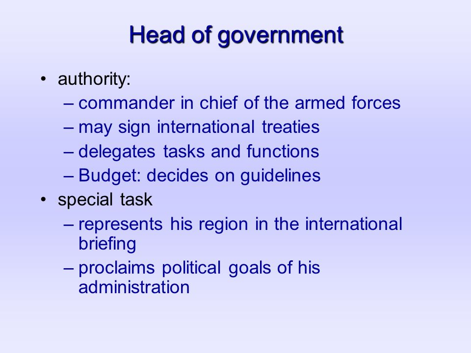 Head of government authority: –commander in chief of the armed forces –may sign international treaties –delegates tasks and functions –Budget: decides