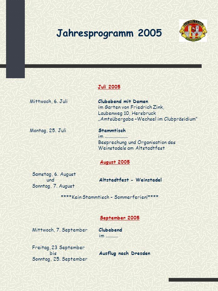 Jahresprogramm 2005 Mittwoch, 2.