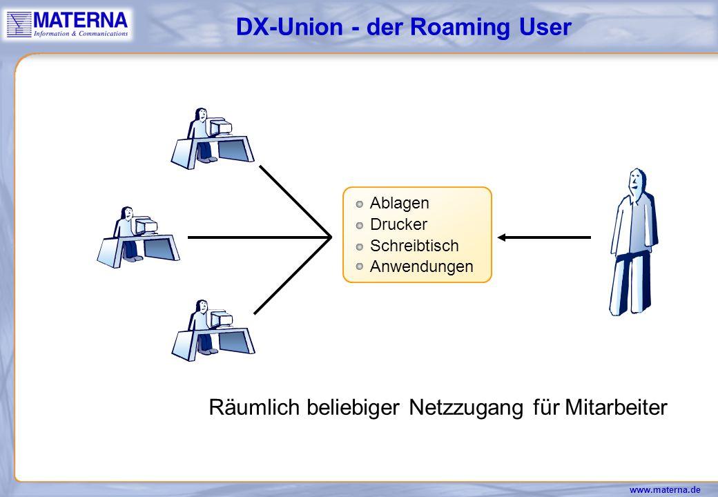 www.materna.de NT-Server Drucker Ablagen UNIX-Server Drucker Ablagen Client-/Server- Datenbanken Hostanbindung/ Emulationen DX-Union - Single SignOn 1 Authentisierung x geschützte Serverzugänge