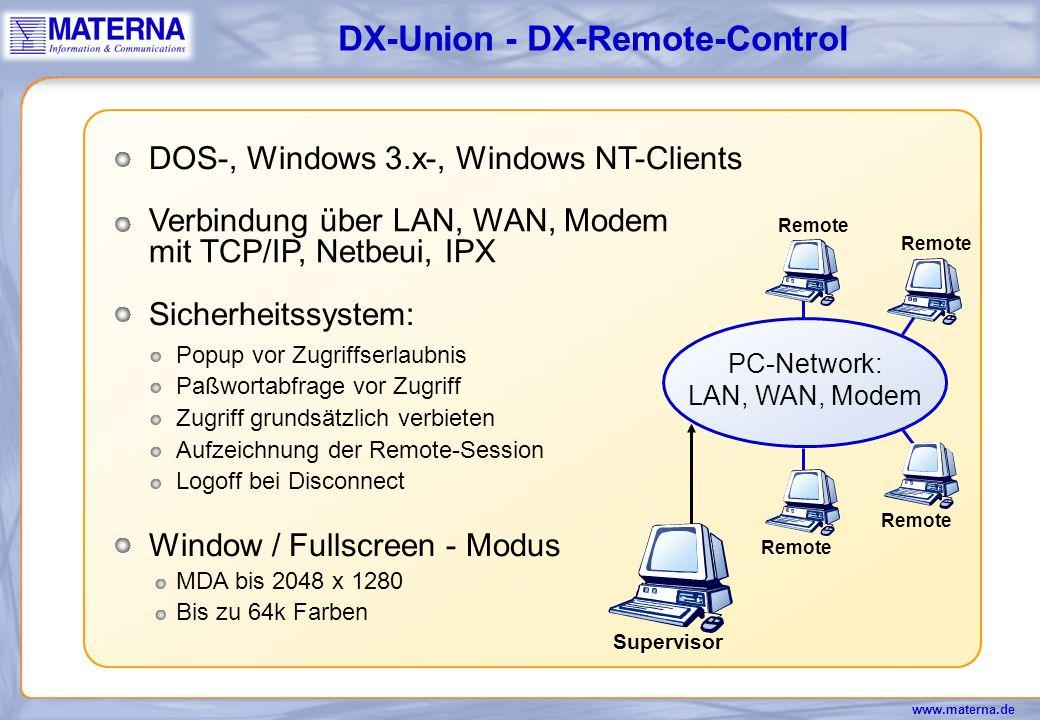 www.materna.de - RAM - OS - CPU PC 2PC 1 DOS-, Windows 3.x-, Windows NT-Clients Verbindung über LAN, WAN, Modem mit TCP/IP, Netbeui, IPX Erkennung jedes PCs über den Rechnernamen Reportfunktionen Hardwaredaten aller PCs Standortübergreifende Inventarisierung DX- Asset X.500 Verzeichnisdienst...