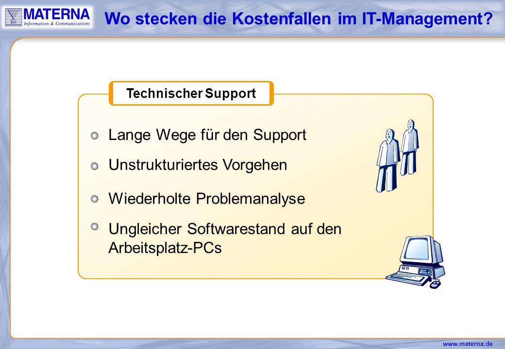 www.materna.de Betriebskosten Probleme durch ungleiche Softwarestände Laufende Installation und Inbetriebnahme von PC-Arbeitsplätzen Update von Softwareprodukten Wo stecken die Kostenfallen im IT-Management?
