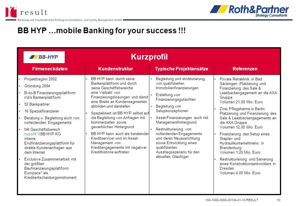 BB HYP …mobile Banking for your success !!! 100-1000-3000-00134-01-10 RESULT10 FirmeneckdatenKundenstrukturTypische ProjektansätzeReferenzen Kurzprofi