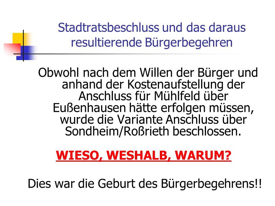 Kostenaufstellung für den Stadtratsbeschluss vom 11.04.06 Anschluss Mellrichstadt - Eußenhausen:ca.