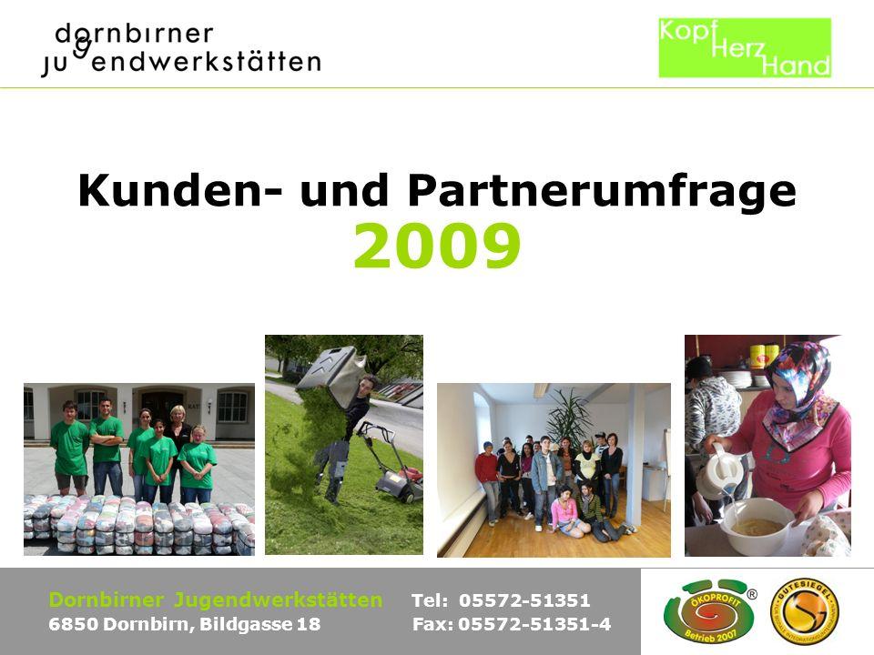 Kunden- und Partnerumfrage 2009 Dornbirner Jugendwerkstätten Tel: 05572-51351 6850 Dornbirn, Bildgasse 18 Fax: 05572-51351-4